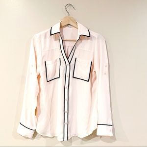 Express | Pink Contrast Piping Portofino Shirt Sm